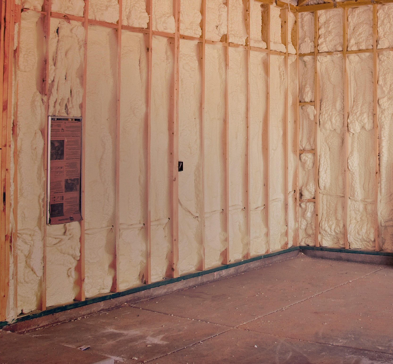 Wall just before insulation is applied