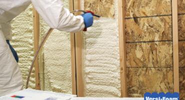 Spray Foam Application in exterior studs